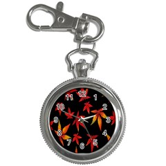 Colorful Autumn Leaves On Black Background Key Chain Watches
