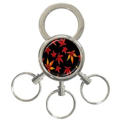 Colorful Autumn Leaves On Black Background 3 Ring Key Chains
