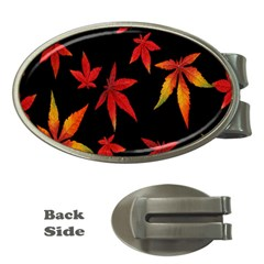 Colorful Autumn Leaves On Black Background Money Clips (oval)
