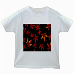 Colorful Autumn Leaves On Black Background Kids White T-Shirts