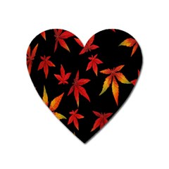 Colorful Autumn Leaves On Black Background Heart Magnet
