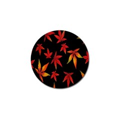 Colorful Autumn Leaves On Black Background Golf Ball Marker