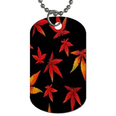Colorful Autumn Leaves On Black Background Dog Tag (two Sides)