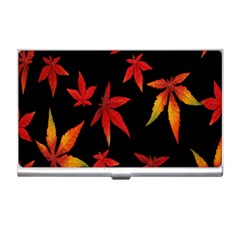 Colorful Autumn Leaves On Black Background Business Card Holders