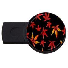 Colorful Autumn Leaves On Black Background USB Flash Drive Round (2 GB)