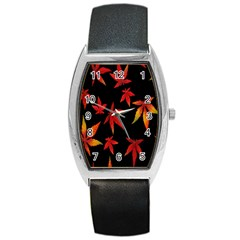 Colorful Autumn Leaves On Black Background Barrel Style Metal Watch