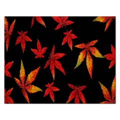 Colorful Autumn Leaves On Black Background Rectangular Jigsaw Puzzl