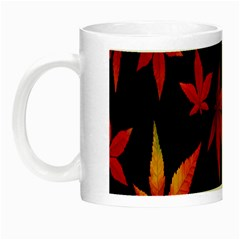 Colorful Autumn Leaves On Black Background Night Luminous Mugs