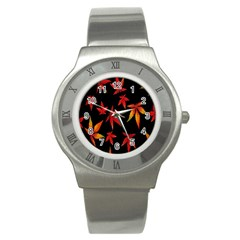 Colorful Autumn Leaves On Black Background Stainless Steel Watch