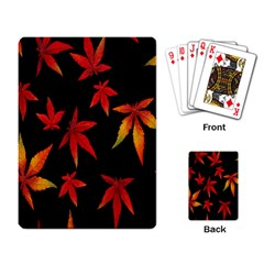 Colorful Autumn Leaves On Black Background Playing Card