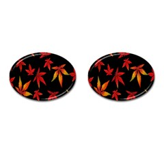 Colorful Autumn Leaves On Black Background Cufflinks (oval)