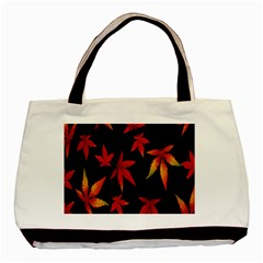 Colorful Autumn Leaves On Black Background Basic Tote Bag