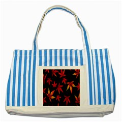 Colorful Autumn Leaves On Black Background Striped Blue Tote Bag
