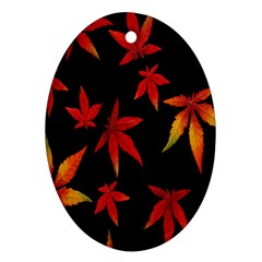 Colorful Autumn Leaves On Black Background Oval Ornament (two Sides)