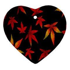 Colorful Autumn Leaves On Black Background Heart Ornament (Two Sides)