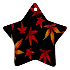Colorful Autumn Leaves On Black Background Star Ornament (Two Sides)