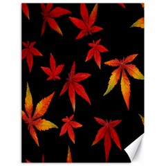 Colorful Autumn Leaves On Black Background Canvas 18  x 24
