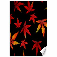 Colorful Autumn Leaves On Black Background Canvas 24  X 36