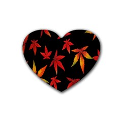 Colorful Autumn Leaves On Black Background Rubber Coaster (heart)