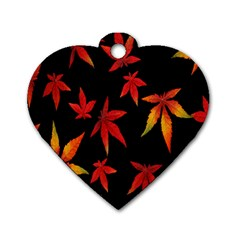 Colorful Autumn Leaves On Black Background Dog Tag Heart (One Side)