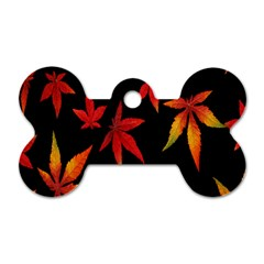Colorful Autumn Leaves On Black Background Dog Tag Bone (two Sides)