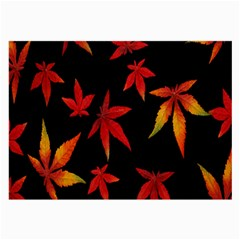 Colorful Autumn Leaves On Black Background Large Glasses Cloth (2 Side)