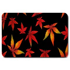 Colorful Autumn Leaves On Black Background Large Doormat