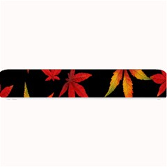 Colorful Autumn Leaves On Black Background Small Bar Mats