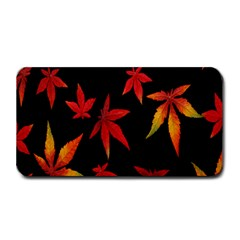 Colorful Autumn Leaves On Black Background Medium Bar Mats