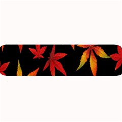 Colorful Autumn Leaves On Black Background Large Bar Mats
