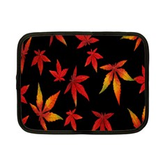 Colorful Autumn Leaves On Black Background Netbook Case (small)