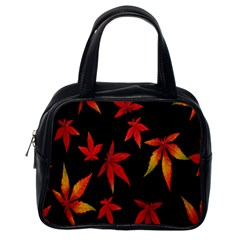 Colorful Autumn Leaves On Black Background Classic Handbags (one Side)