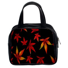 Colorful Autumn Leaves On Black Background Classic Handbags (2 Sides)
