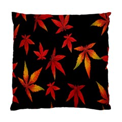 Colorful Autumn Leaves On Black Background Standard Cushion Case (one Side)
