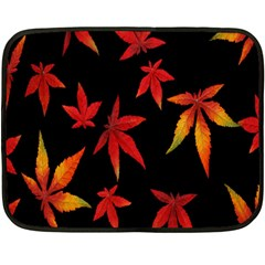 Colorful Autumn Leaves On Black Background Double Sided Fleece Blanket (Mini)