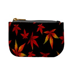 Colorful Autumn Leaves On Black Background Mini Coin Purses
