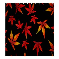 Colorful Autumn Leaves On Black Background Shower Curtain 66  X 72  (large)