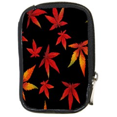Colorful Autumn Leaves On Black Background Compact Camera Cases