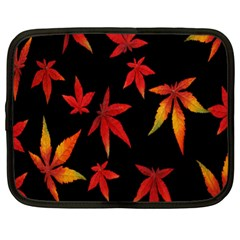 Colorful Autumn Leaves On Black Background Netbook Case (xl)