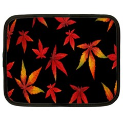 Colorful Autumn Leaves On Black Background Netbook Case (xxl)