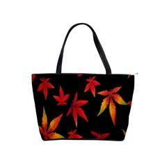 Colorful Autumn Leaves On Black Background Shoulder Handbags