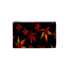Colorful Autumn Leaves On Black Background Cosmetic Bag (small)