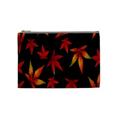 Colorful Autumn Leaves On Black Background Cosmetic Bag (medium)