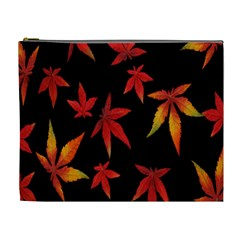 Colorful Autumn Leaves On Black Background Cosmetic Bag (xl)