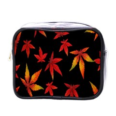 Colorful Autumn Leaves On Black Background Mini Toiletries Bags