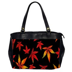 Colorful Autumn Leaves On Black Background Office Handbags (2 Sides)