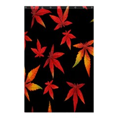 Colorful Autumn Leaves On Black Background Shower Curtain 48  X 72  (small)
