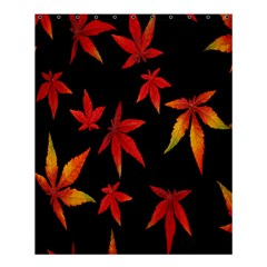 Colorful Autumn Leaves On Black Background Shower Curtain 60  X 72  (medium)