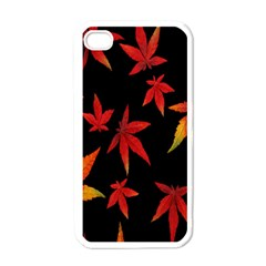Colorful Autumn Leaves On Black Background Apple Iphone 4 Case (white)
