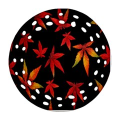 Colorful Autumn Leaves On Black Background Ornament (round Filigree)